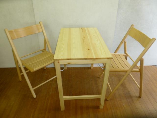 無印良品/折りたたみテーブル、いす×2脚